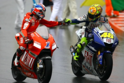 Rossi with Stoner at Sachsenring.
